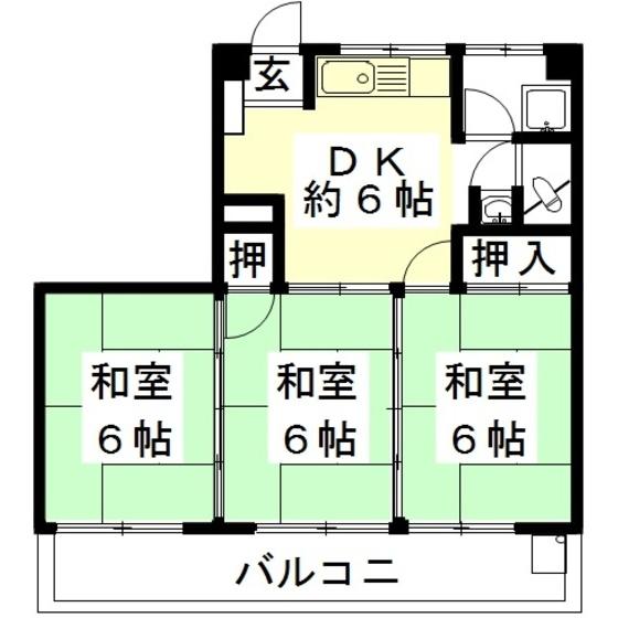 岐阜県岐阜市   伊藤ビル(茜部神清寺) 3階   3DK  49.58㎡